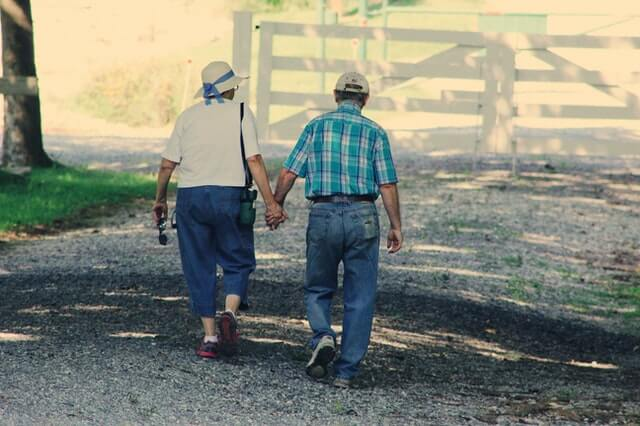 Walking old couple